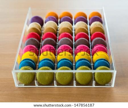 Colorful macaroon in box - stock photo