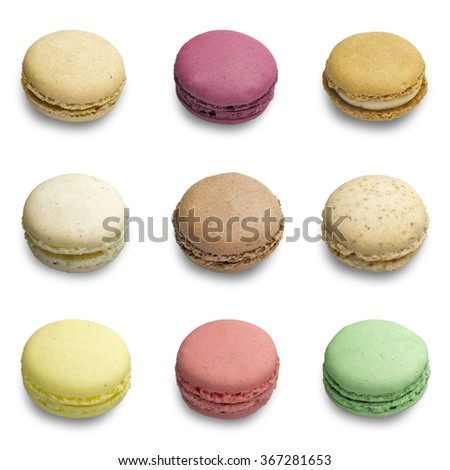 Colorful macaroons assortment isolated in white background  - stock photo