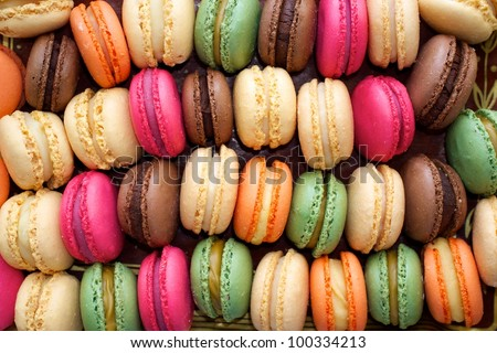 Colorful macaroons background. - stock photo