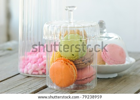 colorful macaroons in a jar - stock photo