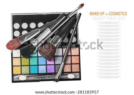 Colorful make-up and cosmetics isolated on a white background. Text example - stock photo