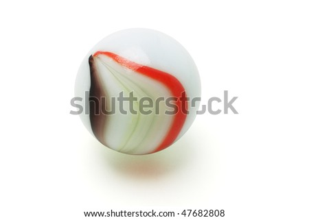 Colorful marble ball on white background - stock photo
