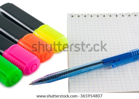 Colorful markers pens and notebook isolated on white background - stock photo