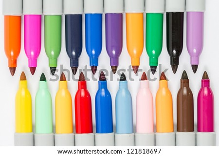 Colorful markers pens isolated - stock photo