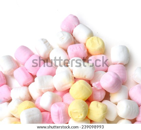Colorful marshmallow on white background  - stock photo