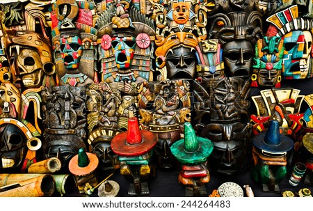 colorful masks in  Mexican market Chichen Itza  - stock photo