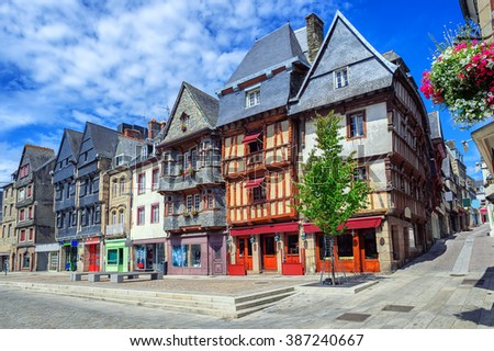 Colorful medieval houses in the historical city center of Lannion, Brittany, France - stock photo