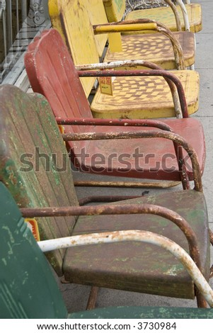 colorful metal chairs - stock photo