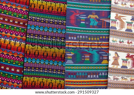 Colorful Mexican blankets souvenirs for sale at market, Latin America  - stock photo