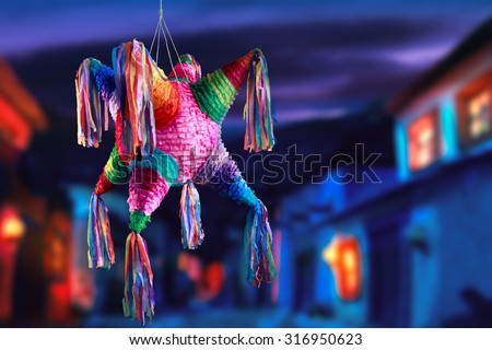 Colorful mexican pinata used in birthdays - stock photo