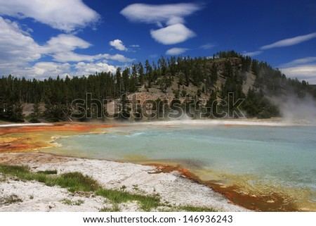 Colorful Midway Steam Geyser Pool against blue sky in Yellowstone National Park, Wyoming, US - stock photo