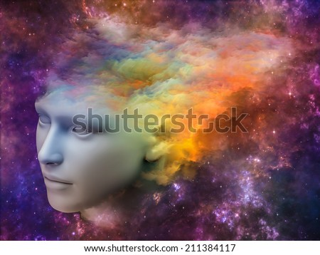 Colorful Mind series. Backdrop of human head and fractal colors on the subject of mind, dreams, thinking, consciousness and imagination - stock photo