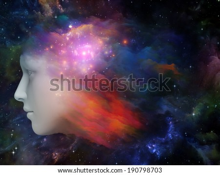 Colorful Mind series. Background design of human head and fractal colors on the subject of mind, dreams, thinking, consciousness and imagination - stock photo