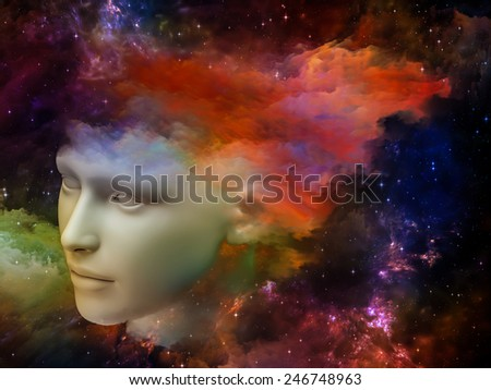 Colorful Mind series. Composition of human head and fractal colors with metaphorical relationship to mind, dreams, thinking, consciousness and imagination - stock photo