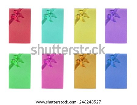 Colorful mini Gift box with ribbon - stock photo