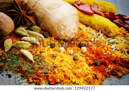 Colorful mix of different spices - stock photo