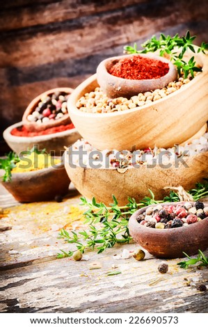 Colorful mix of various spices and herbs  - stock photo
