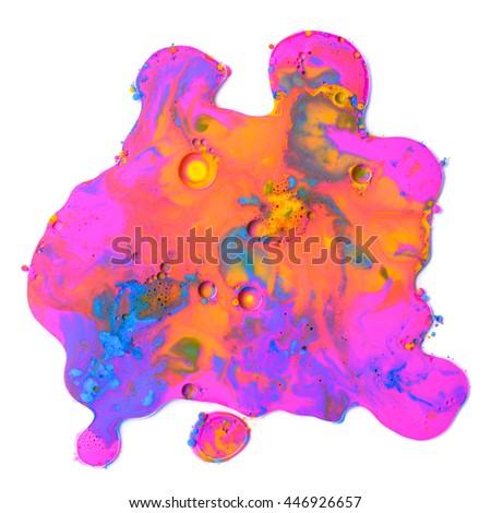 Colorful mixed paint splat isolated on white background - stock photo
