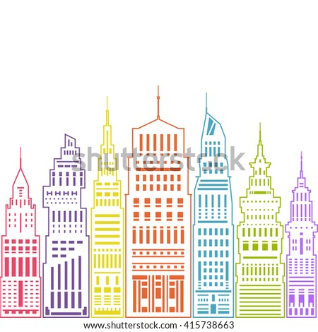 Colorful Modern Big City with Buildings and Skyscraper, Architecture Megapolis,  City Financial Center , Linear Style Design, Real Estate  - stock photo