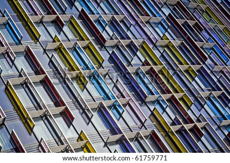 Colorful Modern Glass Architecture in City of London, UK. - stock photo