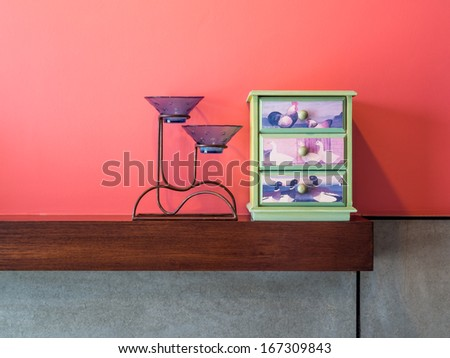 Colorful modern interior wall decorate with cement board - stock photo