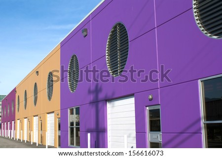 Colorful modernistic storefront units in Vancouver British Columbia Canada - stock photo