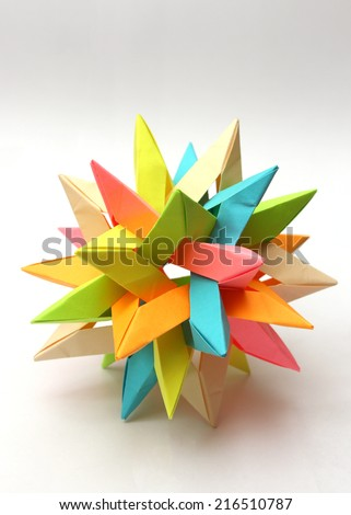 Colorful modular origami paper star isolated on white - stock photo