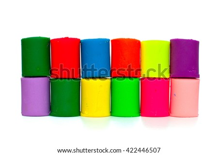 colorful molding dough and cutters for children isolated on white background - stock photo
