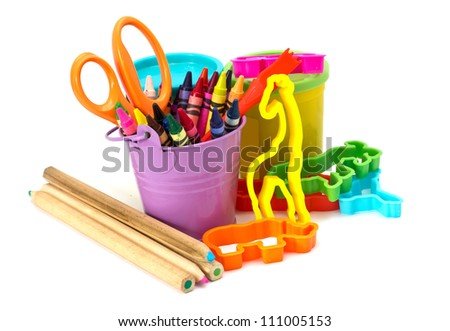 Colorful molding dough, pencils, cutters, crayons, scissors  for children isolated on white background - stock photo