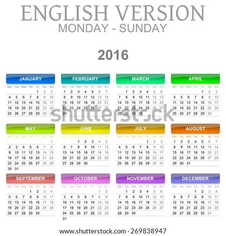 Colorful Monday to Sunday 2016 Calendar English Language Version Illustration - stock photo