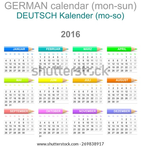Colorful Monday to Sunday 2016 Calendar with Crayons German Version Illustration - stock photo