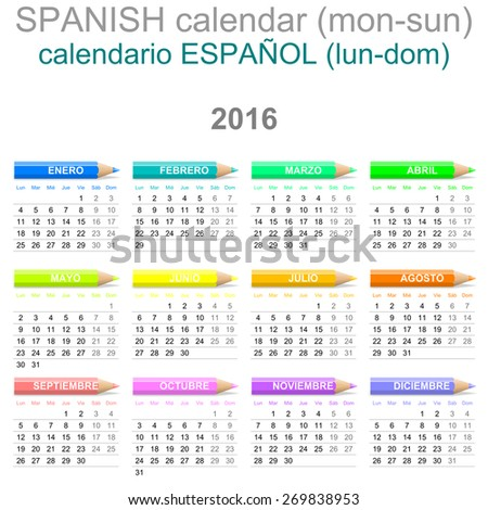 Colorful Monday to Sunday 2016 Calendar with Crayons Spanish Version Illustration - stock photo