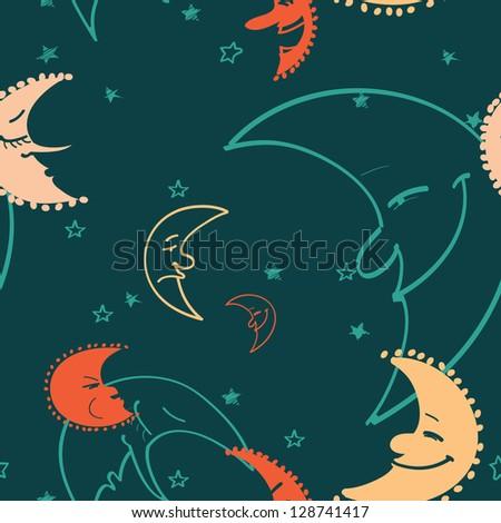 Colorful moon seamless pattern. Raster version. - stock photo