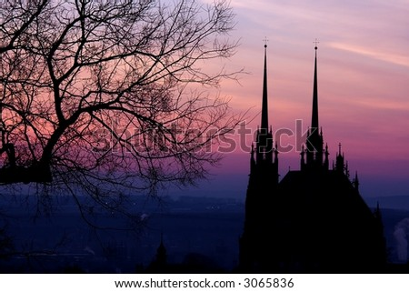 Colorful morning in Brno - stock photo