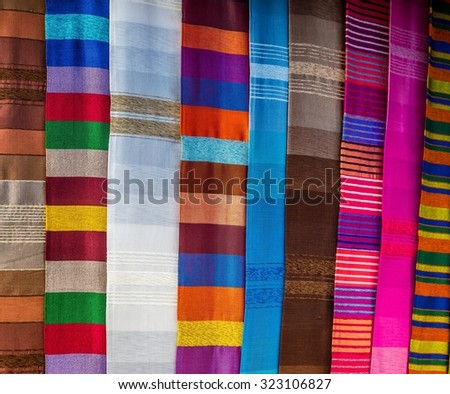 colorful moroccan fabric - stock photo