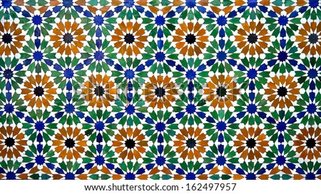 Colorful moroccan mosaic wall - stock photo