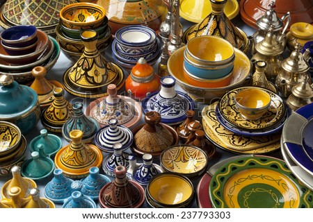 Colorful Moroccan pottery on the market - stock photo
