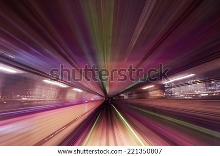 Colorful motion blur train road background                          - stock photo