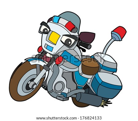 Colorful motorcycle - illustration for the children - stock photo