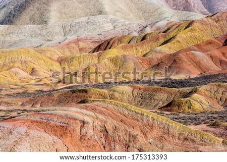 Colorful mountain in Danxia Landform,Zhangye, China. - stock photo