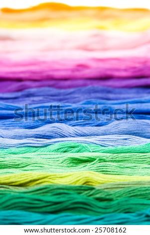 colorful, multicolor cotton material texture - stock photo