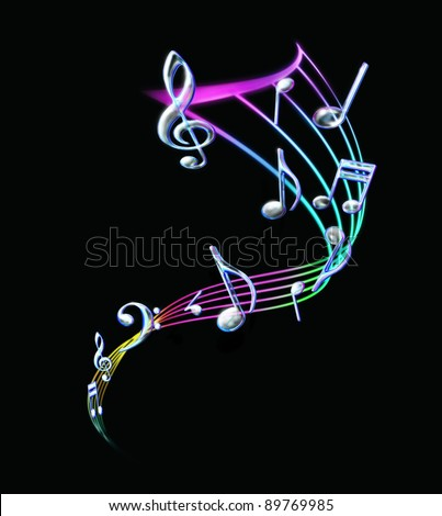 Colorful Music notes with a staff in black background - stock photo
