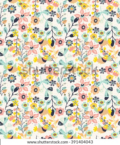 Colorful natural seamless background with flowers and birds,  pattern for design - stock photo
