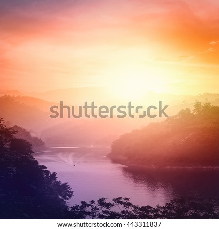 Colorful Nature. Cloud Color Hotel Blue Red Brown Orange Heaven Plan Urban View Vibrant Sea Riverside Sunny Tourism Dawn Sunlight Valley Peace Bright Horizon River Mountain Island Bridge Blurry - stock photo