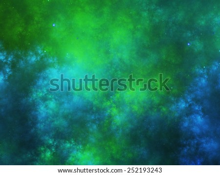 Colorful nebula fractal in space, computer generated abstract background - stock photo