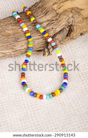 Colorful Necklace Made with Small Plastic Beads Displayed on a Dead Tree Branch - stock photo