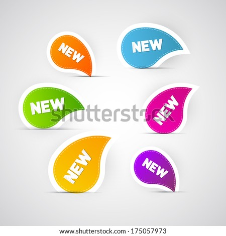 Colorful New Labels, Stickers, Tags - Also Available in Vector Version  - stock photo