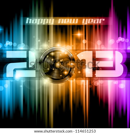 Colorful 2013 New Year Celebration Background with Glitter and Rainbow Colours - stock photo