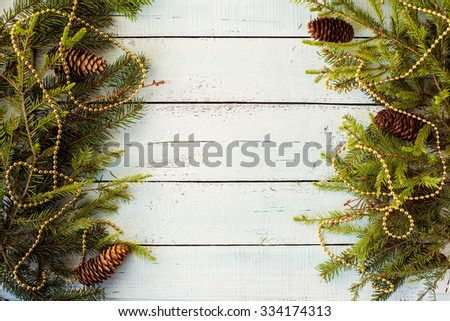 colorful New Year holiday decorations with furtree and toys - stock photo