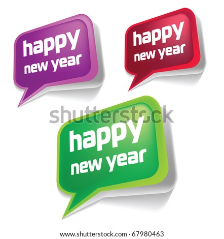 Colorful new year speech bubbles - stock photo